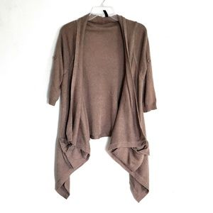 Brown knit waterfall front cardigan sweater Sz M